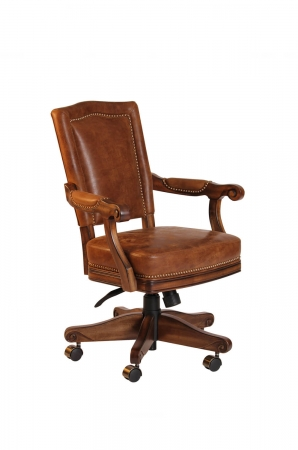 Darafeev's Marsala Luxury Dining Chair Upholstered with Nailhead Trim and Arms, Adjustable and Tilt Swivel