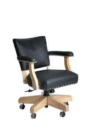 Darafeev's El Dorado Swivel Game Chair with Arms in Black Maple Wood