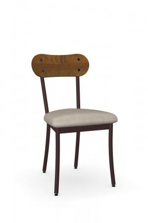 Amisco's Bean Dining Chair with Wood Back, Seat Cushion, and Metal Frame - in Brown