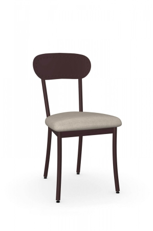 Amisco's Bean Dining Chair in Bronze Metal and Seat Cushion