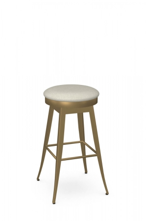 Amisco's Grace Backless Swivel Bar Stool in Gold Metal and Round Seat Cushion