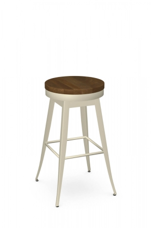 Amisco's Grace Backless Swivel Bar Stool in Cream Vanilla Metal Finish and Medium Wood Seat Finish