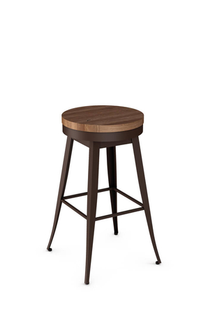 Amisco Grace Swivel Backless Stool with Wood Seat
