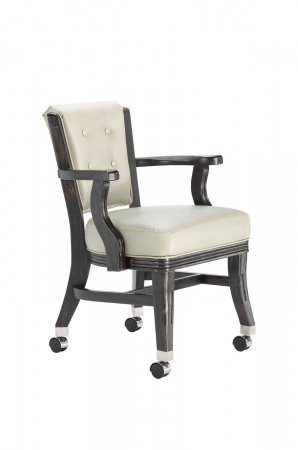 Darafeev's 660 Club Chair with Casters, Button Tufting, and Arms