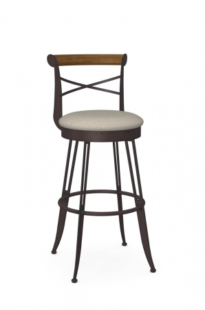Amisco's Historian Traditional Swivel Bar Stool in Espresso Metal, Cross Back Design, and Round Seat Cushion