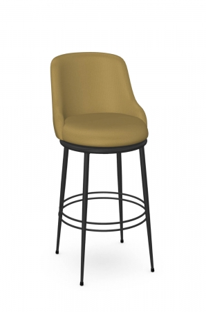 Amisco's Glenn Modern Black Swivel Bar Stool in Mustard Yellow Seat and Back Cushion