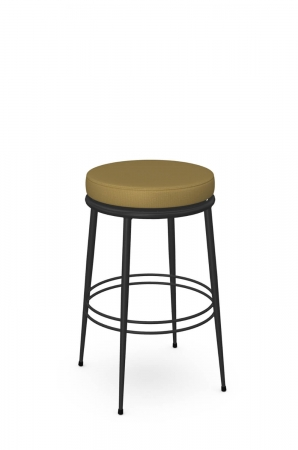 Amisco's Glenn Backless Black Swivel Bar Stool in Mustard Round Seat Cushion