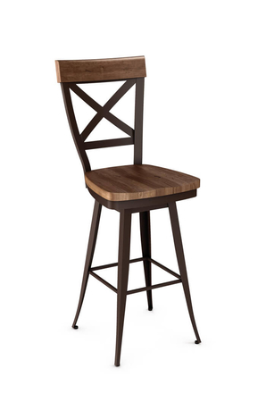 Amisco Kyle Swivel Stool with Wood Seat and Cross Backrest