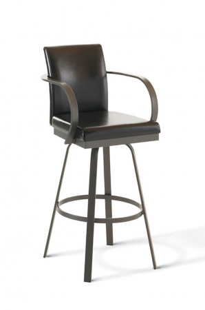 Amisco Lance Swivel Stool with Arms and Upholstered Back and Seat