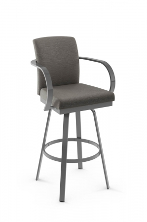 Amisco's Lance Upholstered Metal Swivel Barstool with Curved Arms