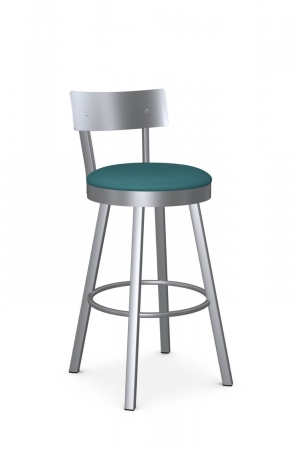 Amisco's Lauren Swivel Bar Stool with Stainless Steel Backrest and Silver Metal Finish and Teal Seat Cushion