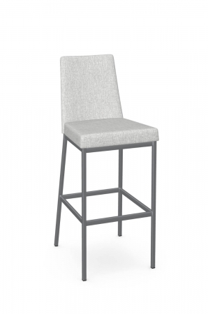 Amisco's Linea Modern Bar Stool Non-Swivel with High Back in Gray