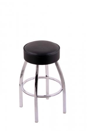 Holland's C8C1 Backless Swivel Chrome Bar Stool with Black Vinyl Seat Cushion