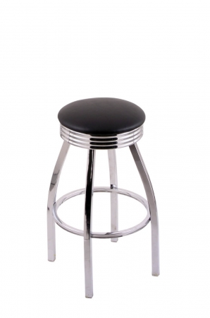 Holland's C8C3C Chrome Backless Swivel Bar Stool with Black Seat Cushion and Rigged Rings