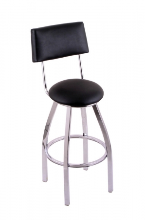 Holland's C8C4 Retro Chrome Swivel Bar Stool with Black Seat and Back Vinyl
