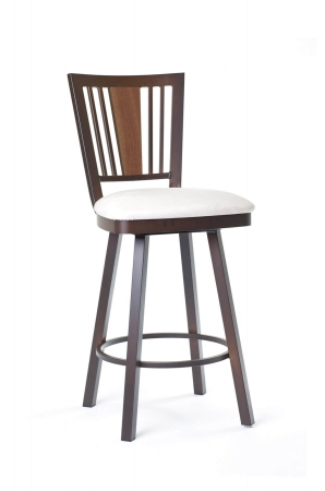 Amisco's Madison Swivel Bar Stool with Back and Seat Cushion