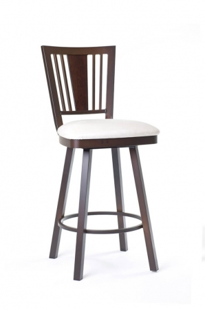 Amisco Madison Swivel Stool with Wood Backrest and Metal Frame