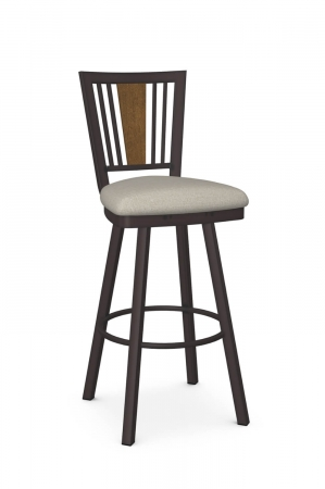 Amisco's Madison Traditional Swivel Bar Stool with Wood Back Piece, Espresso Metal Frame Finish, and Light Tan Square Seat Cushion
