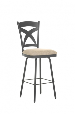 Amisco's Marcus Swivel Counter Stool with Cross Back Design