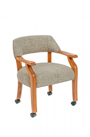 Darafeev's Patriot Wood Dining Chair with Arms, Padded on Back and Seat, and Casters
