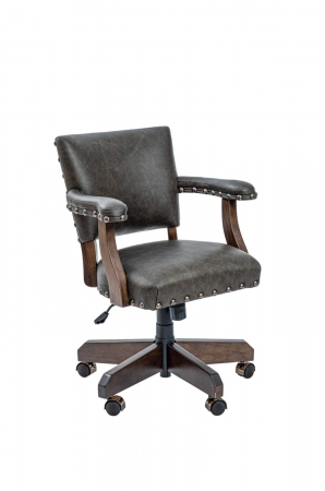 Darafeev's El Dorado Traditional Western Dining Chair with Arms and Nailhead Trim in Brown