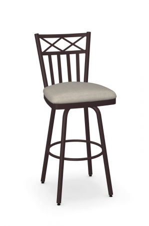 Amisco's Wellington Traditional Brown Swivel Bar Stool with Slat Back