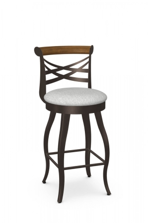 Amisco's Whisky Transitional Metal Swivel Bar Stool with Cross Back Design in Brown