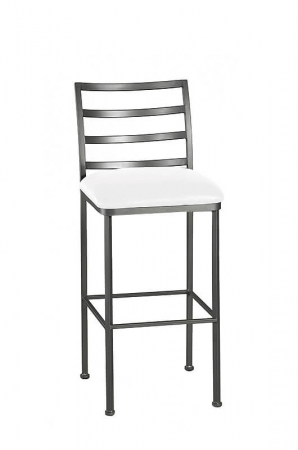 Wesley Allen's Benton Stationary Square Bar Stool with Ladder Back and Seat Cushion