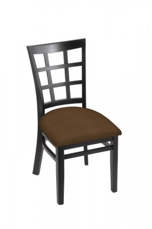 Holland's 3130 Hampton Black Wood Dining Chair in Rein Thatch Seat Cushion