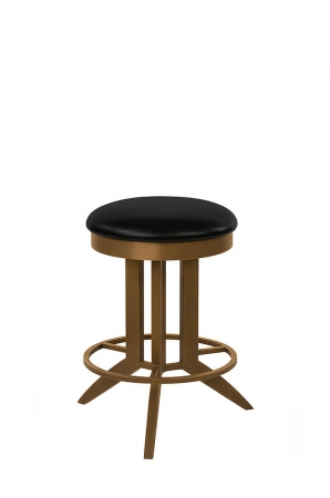 Wesley Allen's Bolton Backless Swivel Bar Stool, Industrial Style with Geometric Base