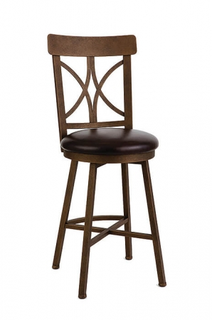 Wesley Allen's Caramillo Swivel Bar Stool with Cross Back Design and Round Seat Cushion