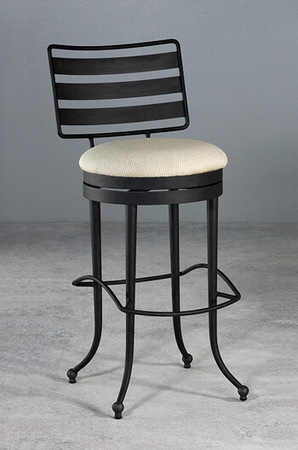 Chester Swivel Stool with Horizontal Slat Back Design and Funky Base