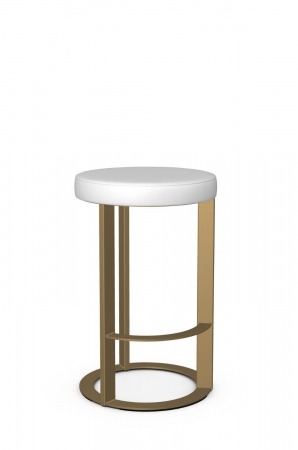 Amisco's Allegro Modern Backless Stool in Gold and White
