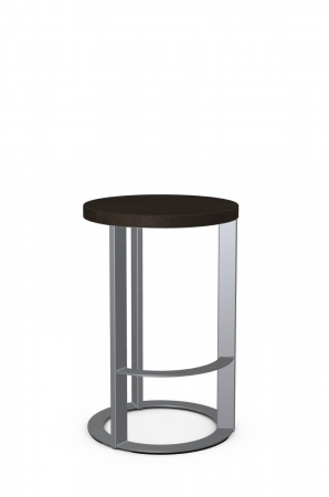 Amisco's Allegro Modern Silver Backless Circular Barstool with Wood Seat in Gray