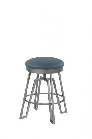 Wesley Allen's Fulham Backless Swivel Stool with Geometric 4-Legged Base