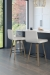 Amisco's Visconti Wood Swivel Upholstered Modern Bar Stools in Modern Kitchen