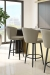 Amisco's Benson Swivel Black Modern Barstools with Curved Back in Kitchen