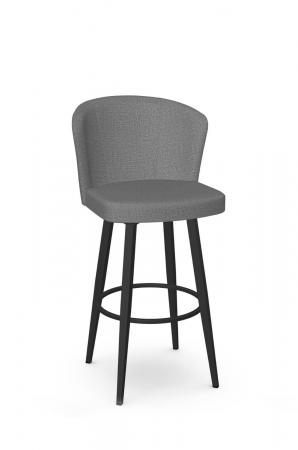Amisco's Benson Modern Metal Upholstered Swivel Bar Stool in Black and Gray