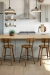 Amisco's Esteban Wood Metal Bar Stools with Low Back in Modern Kitchen