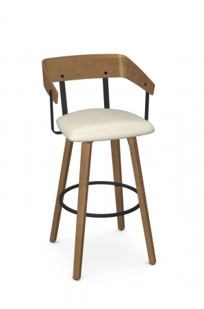 Amisco's Zao Wood Swivel Bar Stool with Curved Back, Seat Cushion in Light Brown