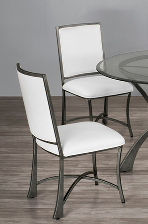 <strong>Metal Finish</strong>: Silver Bisque • <strong>Seat Fabric</strong>: Aspen Pure White