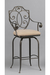 Elegant Meridian Swivel Iron Stool with Seat Cushion and Arms