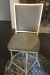 Wesley Allen's Upholstered Swivel Bar Stool with Back in Gray Cushion and Ivory Metal Frame