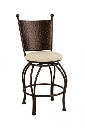 Wesley Allen's Woodland Swivel Bar Stool with Hammered Back and Round Seat