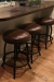Callee's Americana Backless Round Swivel Barstools in Black Metal and Brown Seat Cushion - in Modern Kitchen