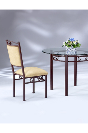 Elegant Scroll Upholstered Dining Chair by Lisa Furniture