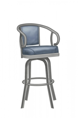 Lisa Furniture's #2015 Upholstered Transitional Swivel Barstool with Arms in Gray and Blue