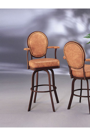Lisa Furniture - Oval Shaped Classic Barstool with Arms and Upholstery