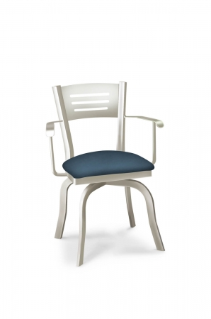 Lisa Furniture's #2033 Slat Back Modern Dining Chair with Arms, Blue Seat Cushion, in Silver Metal