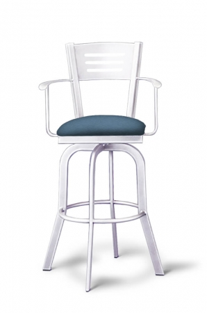 Lisa Furniture's #2033 Slat Back Swivel Bar Stool with Arms in Metallic Metal and Blue Seat Cushion